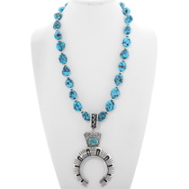 Navajo Turquoise Nugget Silver Naja Necklace 39724