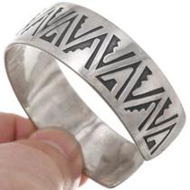 Hopi Silver Overlay Pattern Old Pawn Bracelet 39729