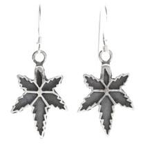 Navajo Sterling Silver Marijuana Dangle Earrings 39733