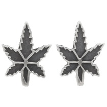 Sterling Silver Marijuana Leaf Earrings 39734