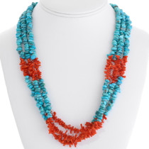 Navajo Turquoise Coral Beaded Necklace 30658