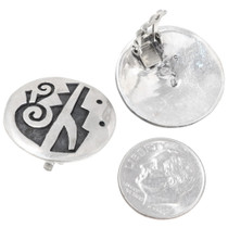 Hopi Rain Pattern Earrings Sterling Silver Clip Ons 39766