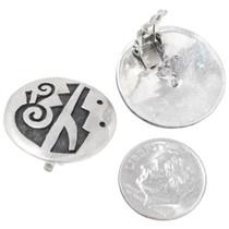 Hopi Rain Pattern Earrings Sterling Silver Clip Ons 39766
