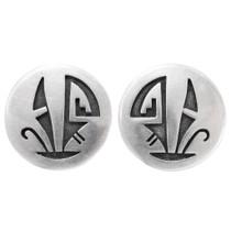 Vintage Hopi Geometric Design Silver Earrings 39787