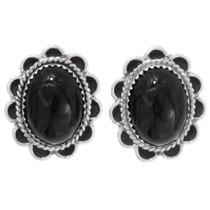 Native American Onyx Silver Earrings 39792