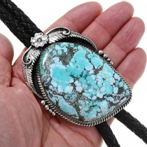 Large Turquoise Sterling Silver Western Bolo Tie 39797