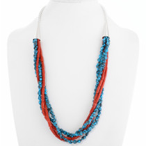 Turquoise Coral Five Strand Navajo Necklace 39804
