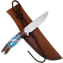 Navajo Turquoise Inlay Buck Knife 39833