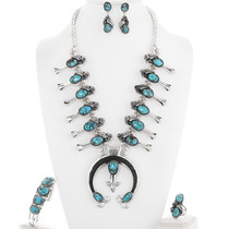 Turquoise Squash Blossom Necklace Set 19685