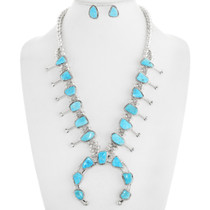Natural Turquoise Silver Squash Blossom Necklace Set 39255