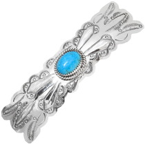 Turquoise Sterling Navajo Hair Barrette Large Size for Thick Hair 0153