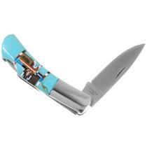 Mosaic Inlay Turquoise Folding Knife 39837
