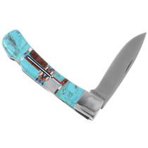 Turquoise Inlay Folding Knife 39838