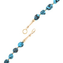 Gold Natural Turquoise Beaded Necklace 39845