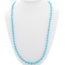 Natural Sleeping Beauty Turquoise Gold Bead Necklace 39851