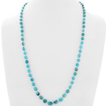 Navajo Turquoise Silver Bead Necklace 39855