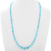 Natural Turquoise Sterling Silver Bead Necklace 39856
