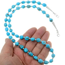 Turquoise Silver Alternating Bead Necklace 39865
