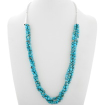 Natural Blue Turquoise Three Strand Necklace 39872