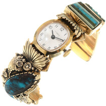 Native American Bisbee Turquoise 14K Gold Watch Cuff 39875