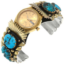 Zuni Turquoise 14K Gold Ladies Watch Cuff 39876