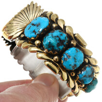 Old Pawn 14K Gold Gem Turquoise Watch 39876