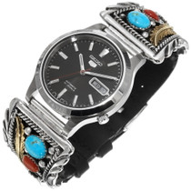 Sterling Silver Turquoise Coral Mens Watch 39880