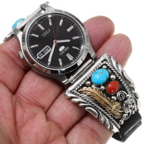 Southwest Gold Silver Turquoise Watch 39880