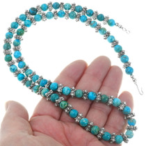 Alternating Silver Turquoise Bead Necklace 39892