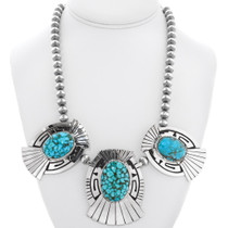 Navajo Natural Carico Lake Turquoise Necklace 30011