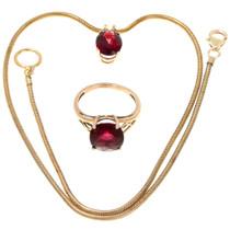 Vintage Ladies Garnet 14K Gold Pendant Ring Set 39878