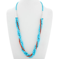 Natural Turquoise Coral Three Strand Navajo Necklace 39915