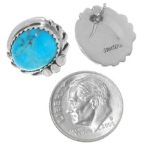 Native American Arizona Turquoise Silver Earrings 39926