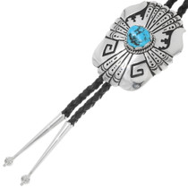 Natural Turquoise Sterling Silver Western Bolo Tie 39939
