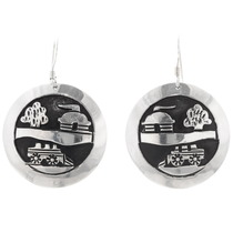 Navajo Silver Storyteller Sterling Silver Earrings 39944
