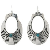 Navajo Turquoise Hammered Silver Earrings 39951