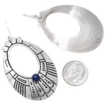 Lapis Lazuli Silver Overlay Western Hoop Earrings 39952