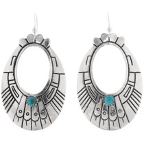 Navajo Turquoise Silver Hoop Earrings 39953