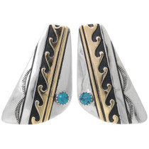 Navajo Turquoise Gold Sterling Silver Earrings 39956