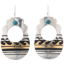 Navajo Turquoise Gold Silver Earrings 39957