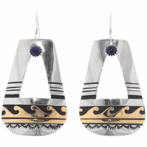 Navajo Gemstone Gold Silver Earrings 39958
