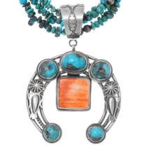 Turquoise Shell Silver Naja Pendant Necklace 39960