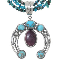 Navajo Turquoise Shell Naja Beaded Necklace 39961