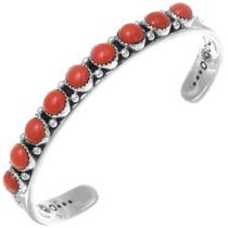 Native American Coral Silver Mens Bracelet 39963