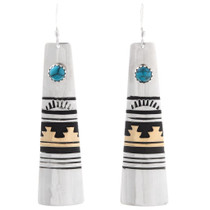 Navajo Turquoise Gold Silver Dangle Earrings 39974