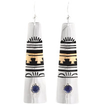 Native American Lapis Gold Silver Dangle Earrings 39975