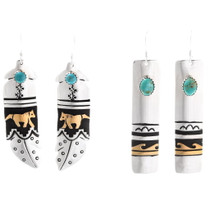 Navajo Silver Turquoise Gold Dangle Earrings 39984