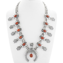 Apple Coral Silver Squash Blossom Necklace 29610