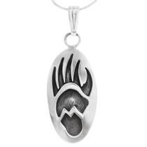 Navajo Bear Paw Sterling Silver Pendant 40006