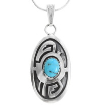 Native American Turquoise Silver Pendant 40008